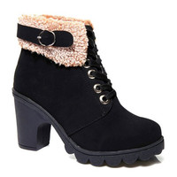 Retro Chunky Heel Suede Ankle Boots With Buckle Design
