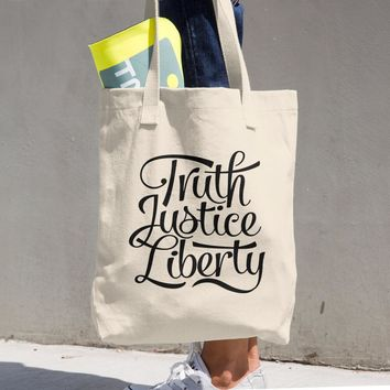 Truth Justice Liberty Cotton Tote Bag