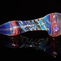 Spoon Pipe - Bowl for Smoking Blue Haze w/ Red Spiral & Inner Helix Design, Color Changing Glass Piece Travel / Pocket Size Affordable