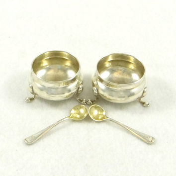Gorham Sterling Silver Salt Cellars with Gold Wash Sterling Spoons from 1800s