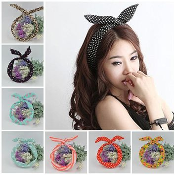 Leopard Dots Rabbit Ear Ribbon Headband
