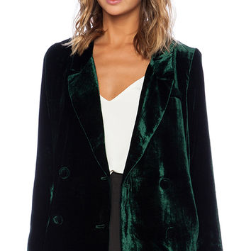 Line & Dot Liv Velvet Blazer in Green