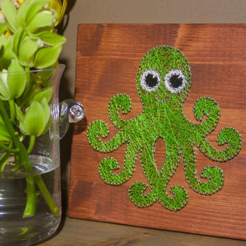 String art wall decor, octopus string art made on reclaimed wood planks, perfect decor for kids room or a gift for newborn, wall decoration