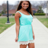 Lace Hem Mini Dress in DarkBlue LakeBlue or Pink