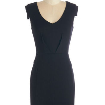 ModCloth Minimal Short Length Cap Sleeves Sheath Change with the Clock Dress in Black