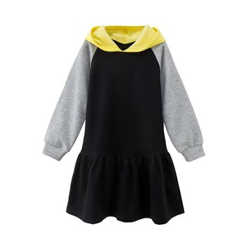 4 -14 yrs big girls casual school style hooded dress 2018 new winter autumn clothes thick warm teenage girls long sleeve dresses