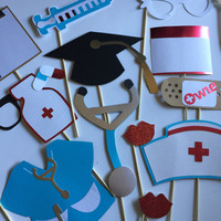 NURSES photo booth props, nursing school photo props, nursing grad party props, graduation hat, grad party decorations