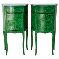 Hand Painted Faux Malachite Lamp Tables
