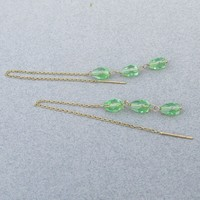 14k Gold & Peridot LONG Vintage Dangle Threader Earrings