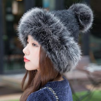 2018 Fashion Women Winter Beanies Pom Pom Hats Rabbit Knitted Skullies Cap Elegant Ladies Winter Thick Warm Russian Cossack Hat