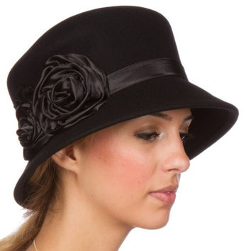 Sakkas 10M Alice Satin Rose Vintage Style Wool Cloche Hat - Black - One Size