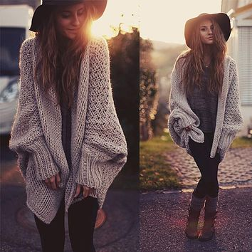 European Batwing Cardigan Ribbed Knit Loose Sweater