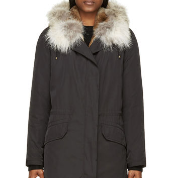 Army By Yves Salomon Black Fur-lined Parka