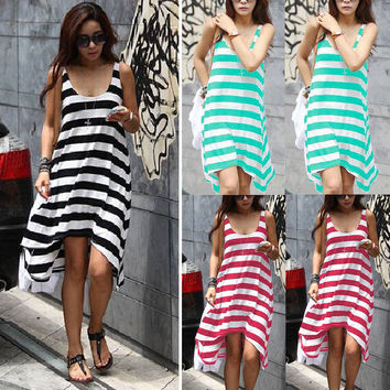 Fashion Ladies Casual Sleeveless Stripes Dresses Women Summer Casual Clothes Summer Women Boho Long Dress