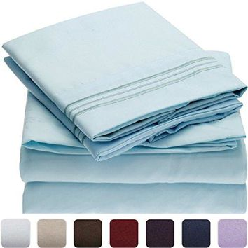 Mellanni Bed Sheet Set - Brushed Microfiber 1800 Bedding - Wrinkle, Fade, Stain Resistant - Hypoallergenic - 4 Piece (Queen, Baby Blue)