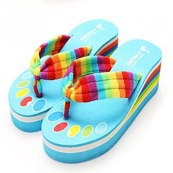 2016 New Arrival Rainbow Flip Flops High Platform Slippers Summer Beach Sandal Anti-slip lightweight Shoes Women Sandal