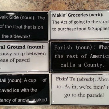 New Orleans slang Magnets, Set of 5 fun New Orleans Magnets, Funny New Orleans phrases, Funny Magnets, Set of 5, Free shipping