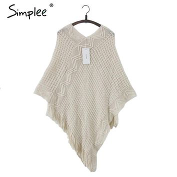 Simplee Batwing sleeve shawl cardigan sweaters women Autumn knitted tricot cloak jumper mantle knitwear tassel hem cape poncho