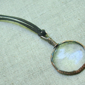 Glass Pendant, pendant, magnifying necklace, magnifying glass, jewelry, glass jewelry, glass necklace