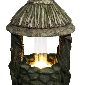 """25.5"""" LED Lighted Nature's Wishing Well Spring Outdoor Garden Water Fountain"""