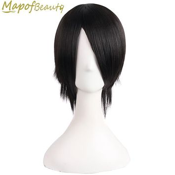Short Straight Synthetic Wigs Black Natural Black 2colors 16 Inches Hair Heat Resistant Halloween Fake Hair Pieces MapofBeauty