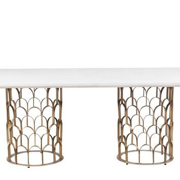 """Gatsby White Concrete / Brass Dining Table 86.6""""W"""