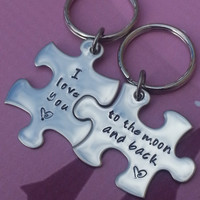 His and Her Puzzle Piece Keychain Set - Couples,Wedding, Anniversary Key chain,hand stamped, I love you to the moon and back