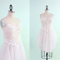 Vintage Sequin & Lace Ballerina Fairy Nightgown - Small Medium
