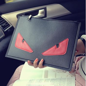 FENDI Newest Popular Woman Men Envelope Clutch Bag PU Leather File Bag Tote Handbag Crossbody Satchel Red