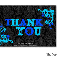 Black Floral Blue Printable Baby Shower Thank You Card