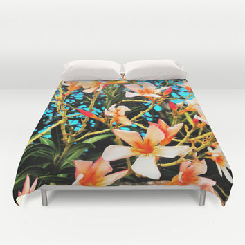 Flowers on Fire Duvet Cover by Yuval Ozery
