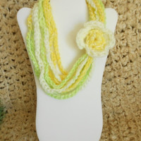 SALE color: Lemon Lime // Girls Infinity Chain Loop Scarf, Yellow Circle Scarf, Kids Winter Jewelry, Tween Girl Gift, Scarf Necklace with Fl