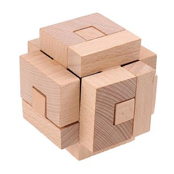 Montessori Wooden Brain Training Locks Traditional Kids Puzzles Intellectual Toys Wooden Cube IQ Game