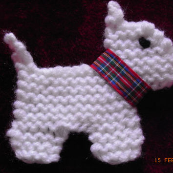 scottie dog knitted applique, embellishment, sew on dog applique, dog patch,knitted scottie dog