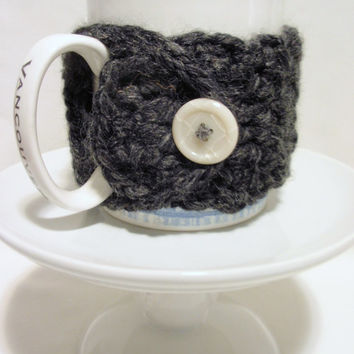 CHARCOAL GRAY crocheted Chunky Coffee Cup Cozy or Mug Cozies with White Acrylic Button Acrylic and Lambs Wool Get Well Gift
