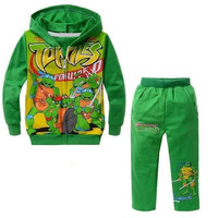 2015 new children boys clothing sets baby kids cartoon Spring Autumn Clothes Teenage mutant ninja turtles 3 design hooded suits