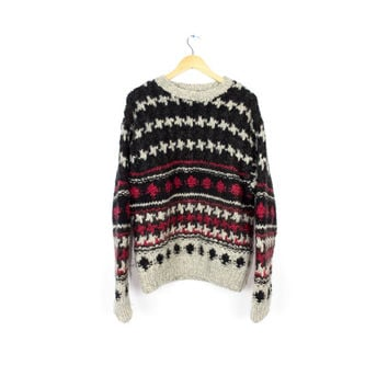 wool hand knit sweater / mens large / nordic ski heavy knit sweater / red black & white
