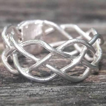 Four Strand Celtic Braid Ring - Braided Silver Wedding Band - Wide Silver Ring - Sterling Silver Unisex Ring - Gift for Him - Gift for Her