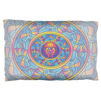 Mandala Trippy Stained Glass Jellyfish Pillow Case