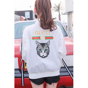 GUCCI Popular Women Loose Print Outdoor Sun Protection Zipper Cardigan Sweatshirt Jacket Coat Windbreaker White I13163-1
