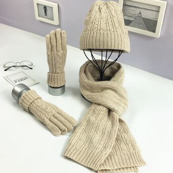 Russian women Autumn and Winter Fashion Knitted Wool Three Sets Classic Twist Warm Wool Hat Scarf Glove Suit