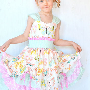Girls Butterfly Dress, Party Dress, Fancy Tea Party Dress, Boutique Ruffle Dress, Over The Top Dress, Twirl Dress, Flower Girl, Custom Dress