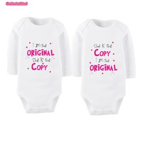 Cute Printed Long Sleeved Matching Onesuits For Twins