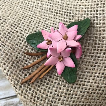 Vintage Leather Pink Flower Brooch, Bouquet, Wedding