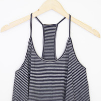 Striped T-Back Crop Tank