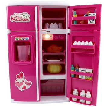 Dream Kitchen Refrigerator Pink Toy Mini Fridge Playset for Kids with Play Food Set