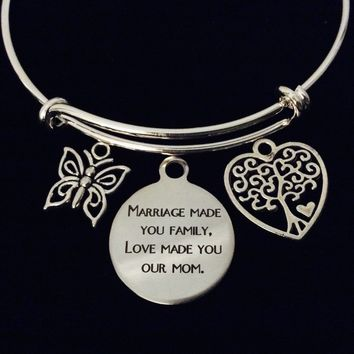Marriage Made you Family Love Made you Our Mom Adjustable Bracelet Expandable Charm Bangle Gift Step Mom