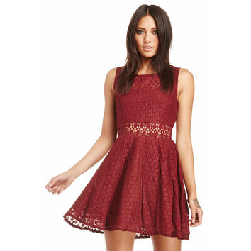 Sleeveless Crochet Lace Pleated Mini Dress with Zipper