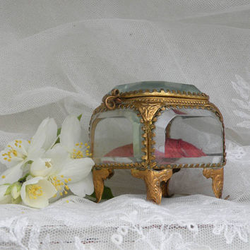 Small French antique glass ring box, keepsake box, jewelry box, chateau chic, engagement ring box, rosary box, glass casket, French boudoir