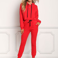 Red High Rise Drawstring Jogger Pants